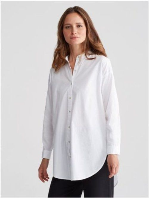 eeb8436d $188 Eileen Fisher White Button Down Mandarin Collar Stretch Lawn Shirt NWT  E552 #EileenFisher #KnitTop #EveningOccasion