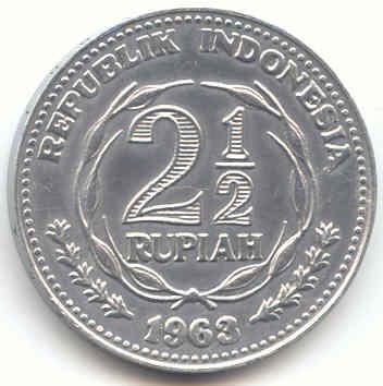 koin 2 setengan rupiah tahun 1963