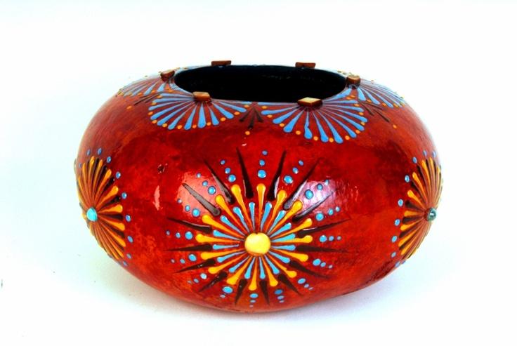 Southwest Sunburst. A great class for all. Gourd art by Miriam Joy.