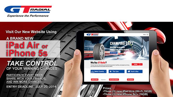 GT Radial Tires is giving away 3 free iPad Airs & 3 free iPhone 5s's! Entry takes just seconds, check it out #BeInControl @GTRadialGlobal --