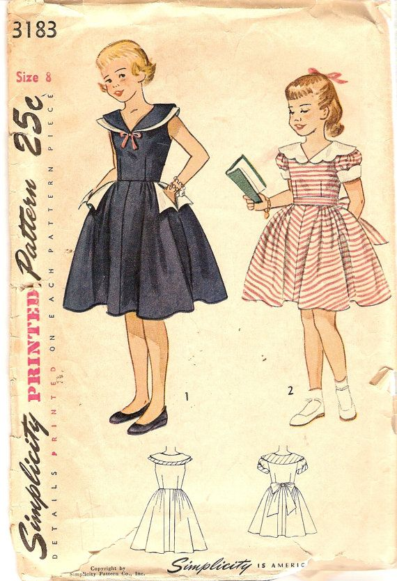 1950s Girls Dress Pattern Simplicity #3183 w/Fitted Bodice Full Skirt by CherryCorners on Etsy