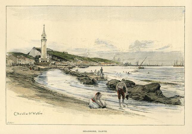 ZANTE . Seashore by Charles W. Wyllie,  1892