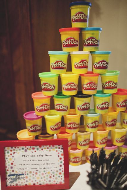play doh game: each guest creates a baby item w/ the playdoh and the mommy picks the winner. super cute idea! Catch My Party