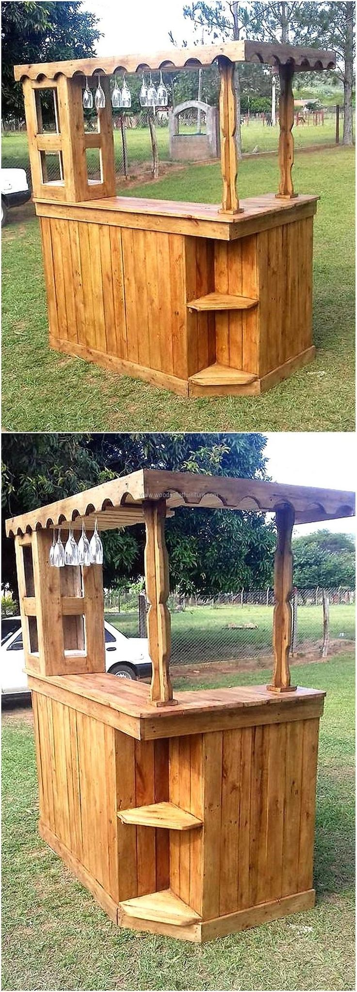 Here is a good idea for the individuals who are planning to set a stall in any park or any other recreational place, it is not difficult to create and it is perfect according to the demand of a bar plan with the fixed place to hang the glass.