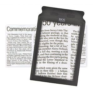 Product # 61173 - Enlarges an entire page at once! Read the smallest print in newspapers, telephone books and more. Faux leather frame is easy to hold and 2X magnification helps reduce eyestrains and squinting.