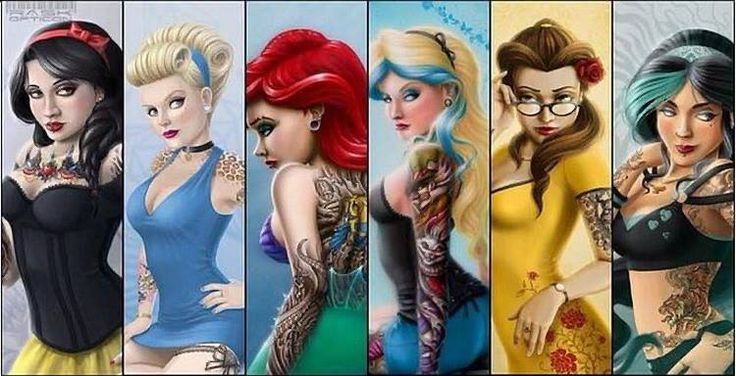 Disney bad girls disneyprincesses stuff disney princesses tattooed