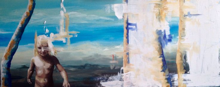 Painting made by Anne Mette Harkes. Akrylic and oilpainting on canvas. 100x40 cm.