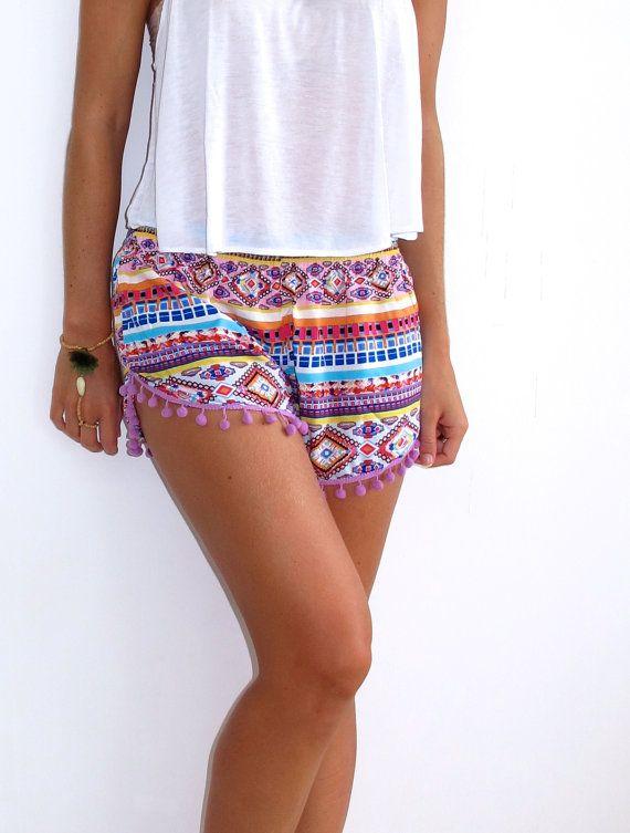 Pom Pom Shorts  Aztec Print  Gym/Beach Shorts by ljcdesignss