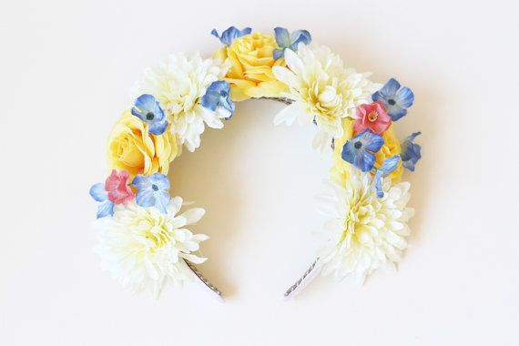 cream blue and yellow flower crown headband  // by kisforkani