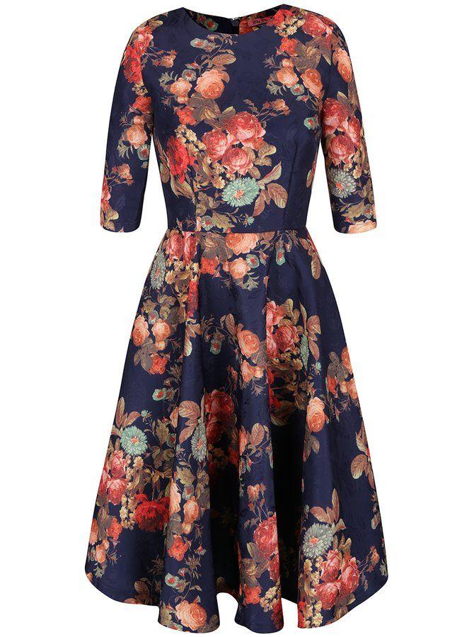 Tmavě modré květované midi šaty s 3/4 rukávy Chi Chi London Megan