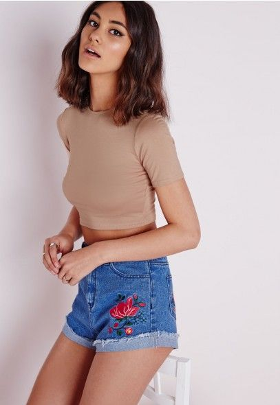 Capped Sleeve Crop Top Taupe