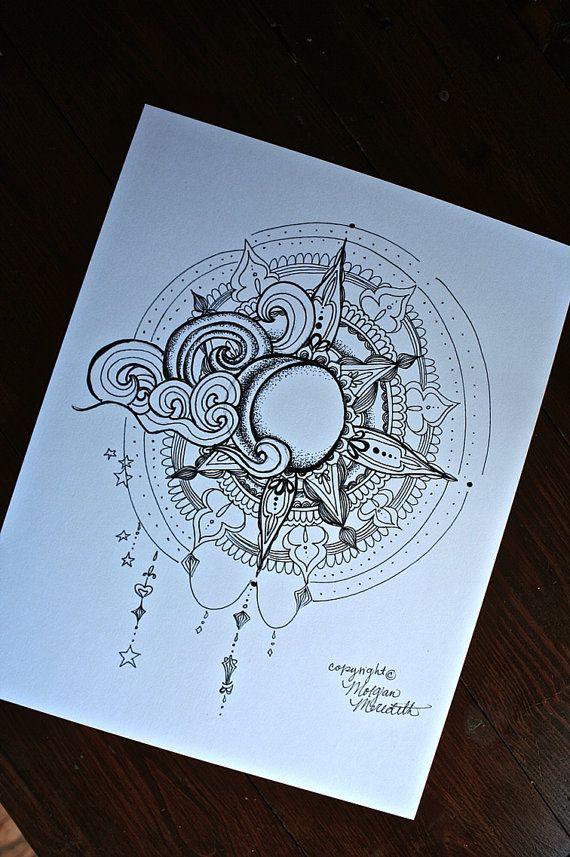 El sol y Luna imprimir por MorgansCanvas en Etsy