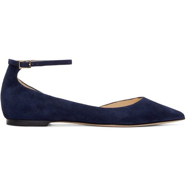 Jimmy Choo Navy Suede Lucy Flats ($525) ❤ liked on Polyvore featuring shoes, flats, navy, flat shoes, suede ballet flats, navy blue flats, pointy toe ankle strap flats and pointy-toe flats