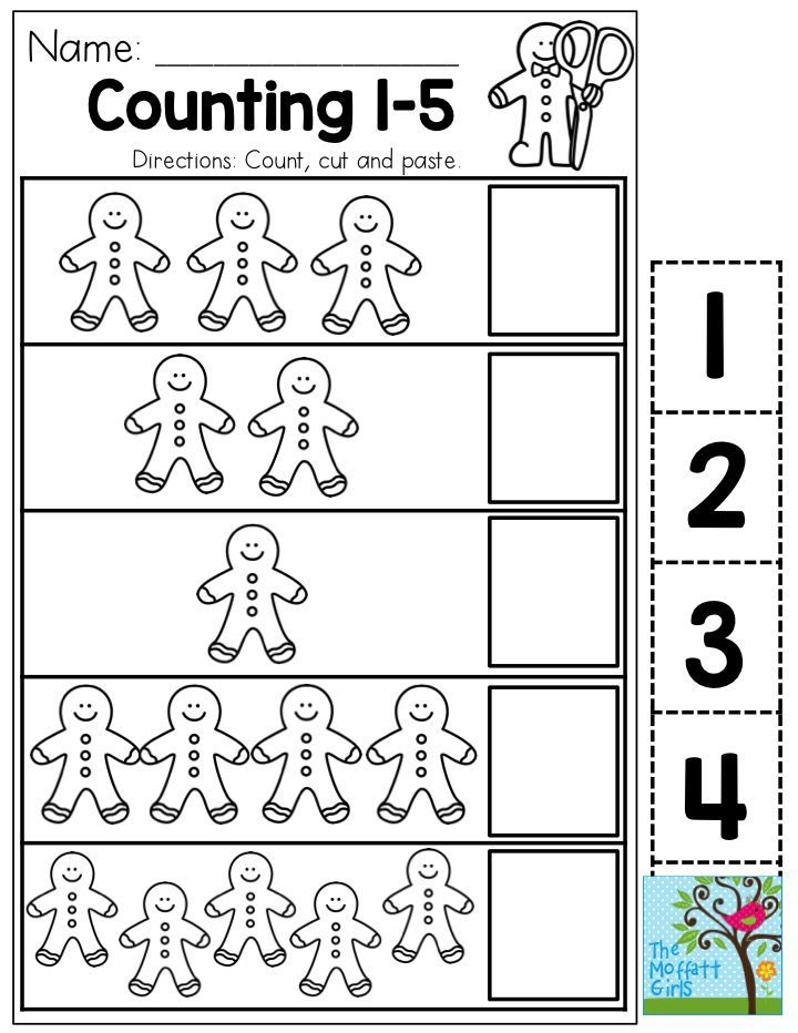 Count 1-5 with Gingerbread Men! You could use this as a one-time activity, or laminate it and use it over and over again in the classroom!