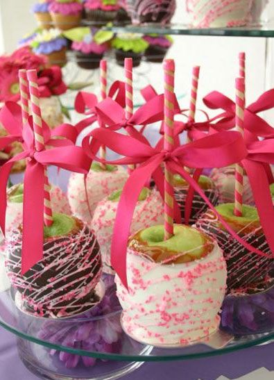 Cute Candy Apples for Relay for Life~ Cancer Pink Ribbon colors.
