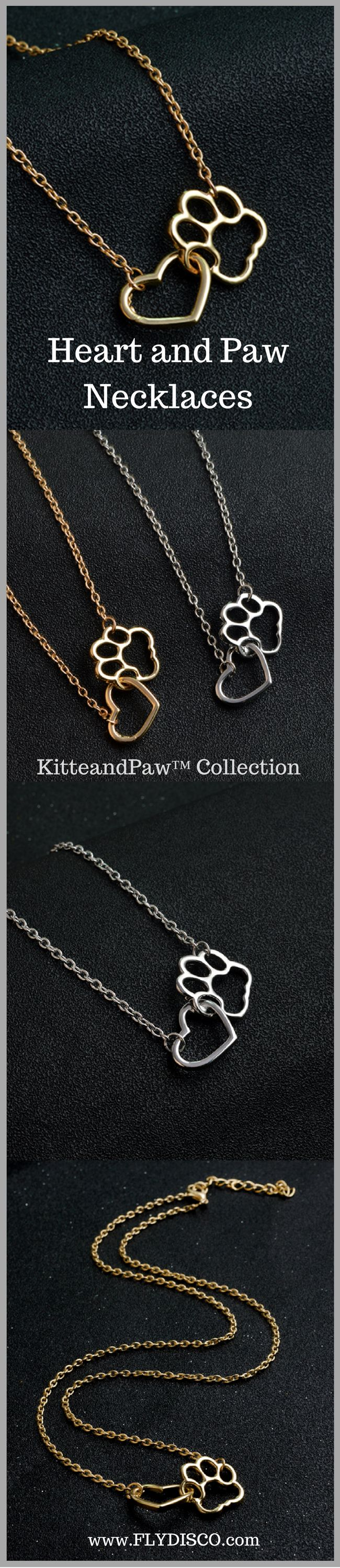 KitteandPaw™ - Heart and Paw Necklaces   Especially for cat lovers ❥ Keep your love close to your heart.