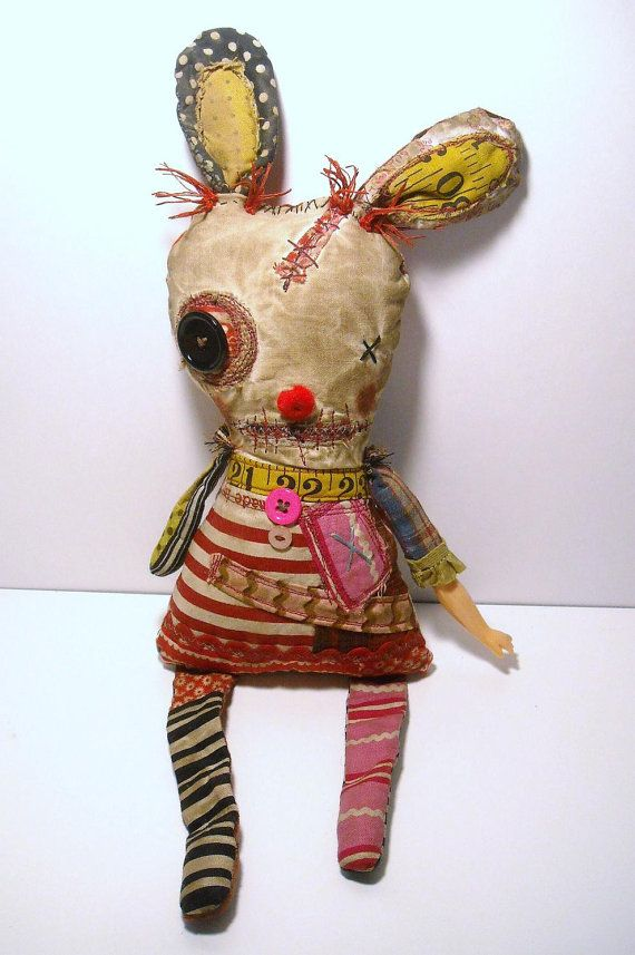 Handmade Art Doll Monster Capucine by JunkerJane on Etsy...I love this one so much!  It looks like it should squeak if you were to squeeze it's tummy :)