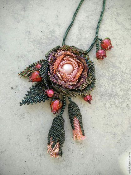 Beaded rose pendant