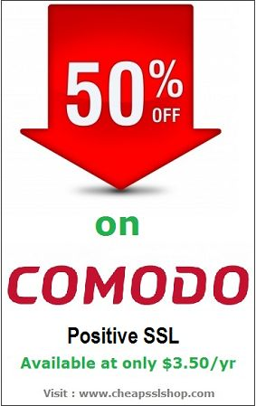 Get #Comodo Positive SSL Certificate at cheapest price $3.50 per year. Flat 50% discount offer is running on this Comodo product. Hurry up to catch this opportunity at CheapSSLShop.com #sslcertificate