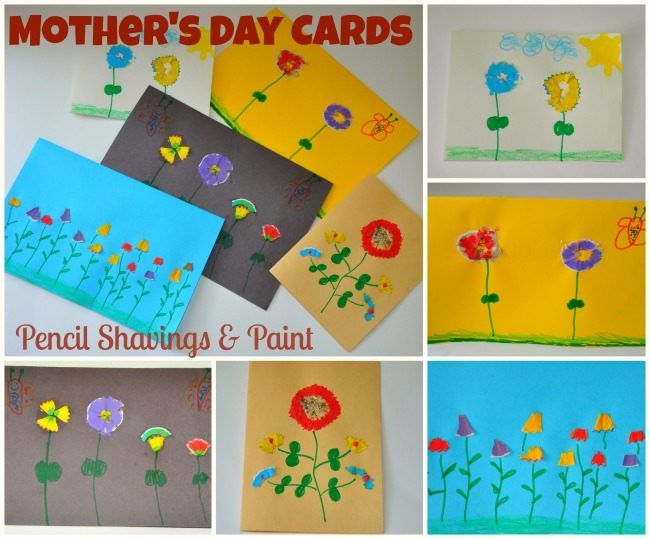 Homemade Mother's Day Cards : Pencil shavings flowers
