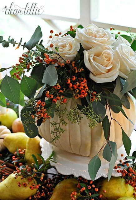 An Easy and Inexpensive Autumn Table Setting with a Pumpkin Vase and Apple Candle Holders by Dear Lillie