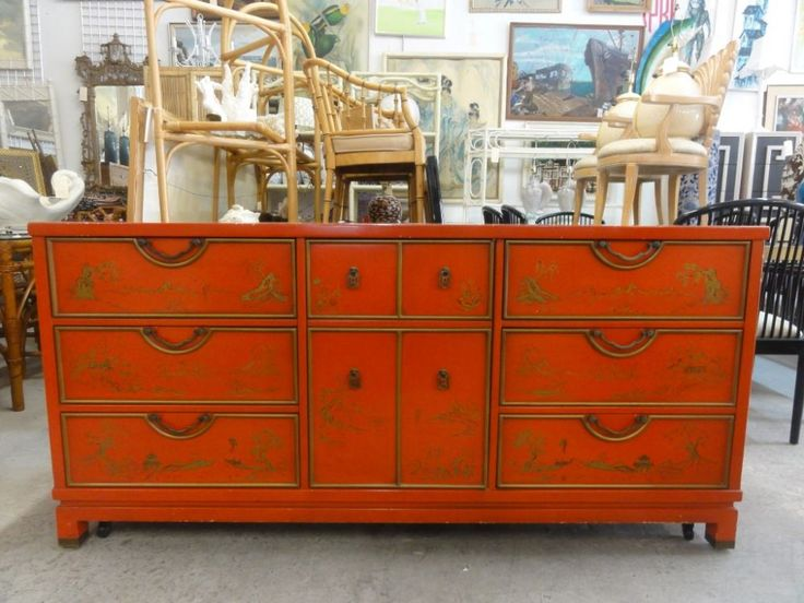 R Way Chinoiserie Chic Red Dresser