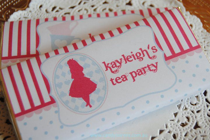 Alice in wonderland personalised chocolate favours designed by COCO AVENUE