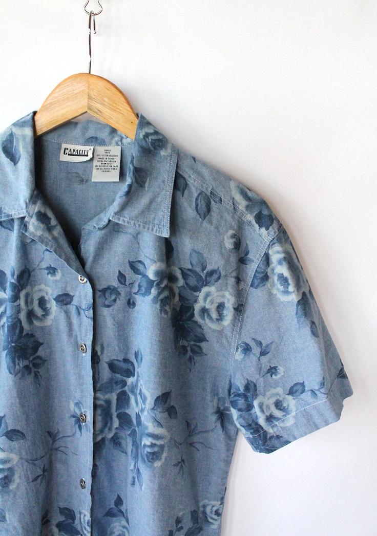Vintage 90s Blue Floral Print Denim Button Up Blouse // Women's Short Sleeve Top. $32.00, via Etsy.