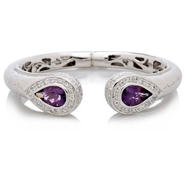 Put the perfect finishing touch on your ensemble with this astounding amethyst and white topaz sterling silver bangle from Sima K Jewellery.