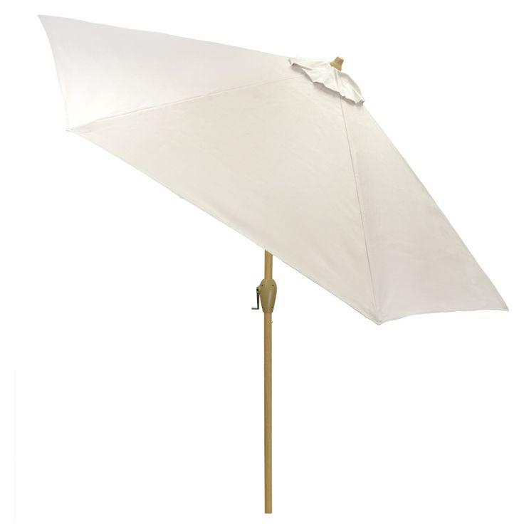9u0027 Round Sling Patio Umbrella White   Light Wood Pole   Threshold