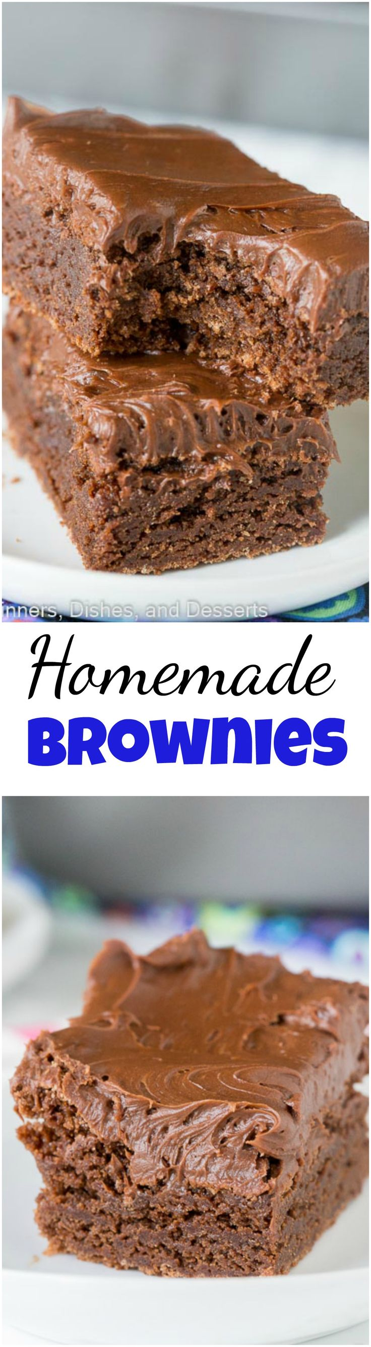 Easy Homemade Brownies Recipe - an easy one bowl brownie recipe that are super fudgy, chocolately, and delicious! (=)