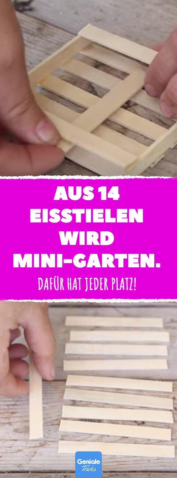 Aus 14 Eisstielen wird Mini-Garten. #DIY #garten #…
