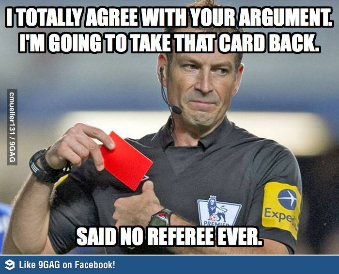 Grown men can act like idiots when they play sports. Don't fight with the Ref, it will do you no good.