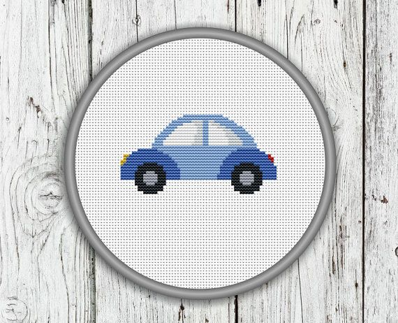 Cute Little Blue Car Counted Cross Stitch by CrossStitchShop