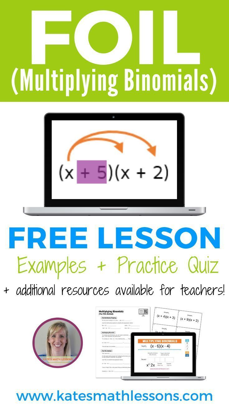 Multiplying Binomials Using Foil Algebra Lessons Pre Algebra Activities Algebra Activities