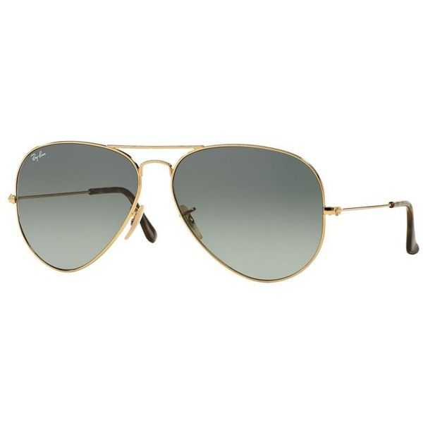 Ray-Ban Unisex Gold Sunglasses ($160) ❤ liked on Polyvore featuring accessories, eyewear, sunglasses, ray ban sunglasses, ray-ban, ray ban glasses, gold glasses and gold sunglasses