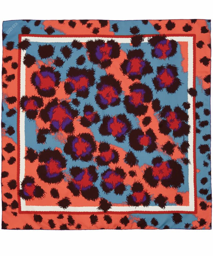 A Leopard never changes his spots, but his colourway may differ! Stunning blue and orange silk scarf from Kenzo. Shop now http://www.liberty.co.uk/fcp/categorylist/designer/kenzo #LibertyScarves