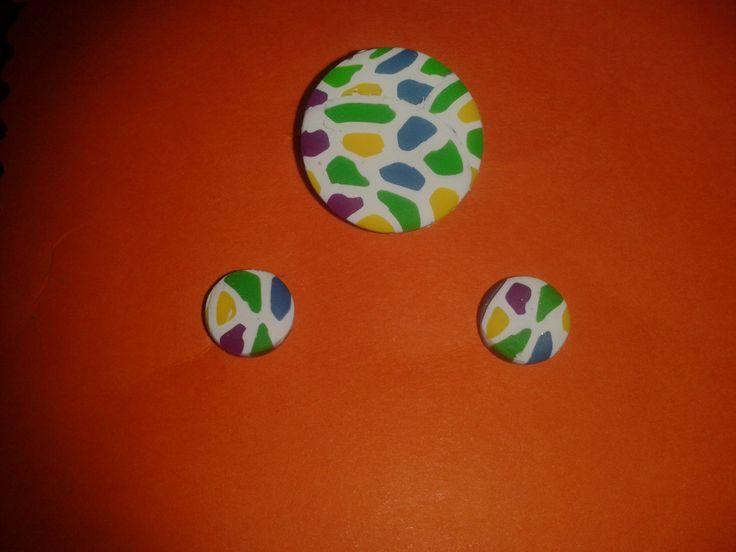 Conjunto anillo-pendientes white and colours
