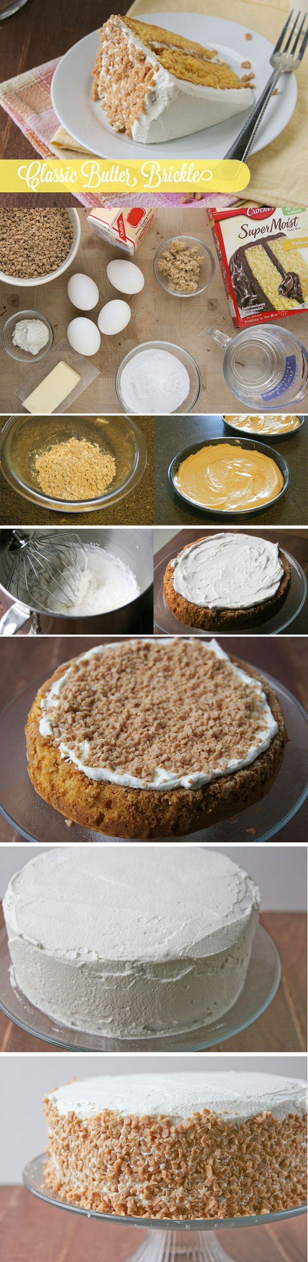 Remember this retro recipe favorite? If you ever enjoyed Betty's Cutter Brickle cake mix, you'll love this DIY modern spin made with a box of yellow mix, butterscotch pudding instant pudding and toffee bits. Click through for step-by-step photos and instructions!