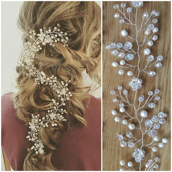 Wedding hair vine long Bridal hair piece Bridal hair accessories Baby breath headpiece Pearl Headband Silver ornament Crystal hair vine Halo