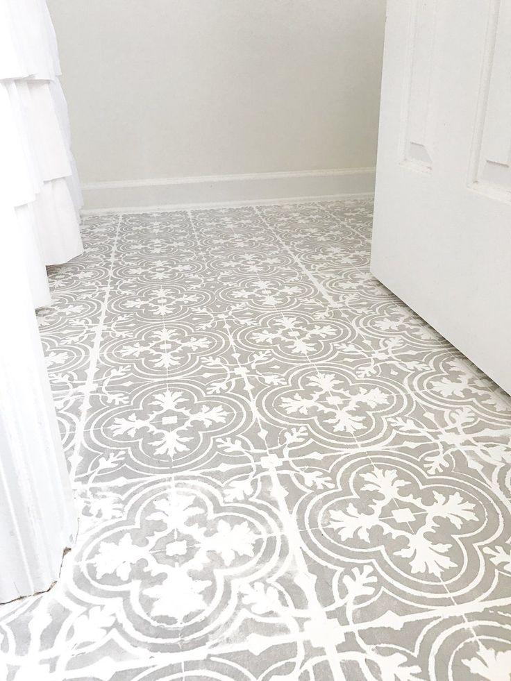 Painted floor tile