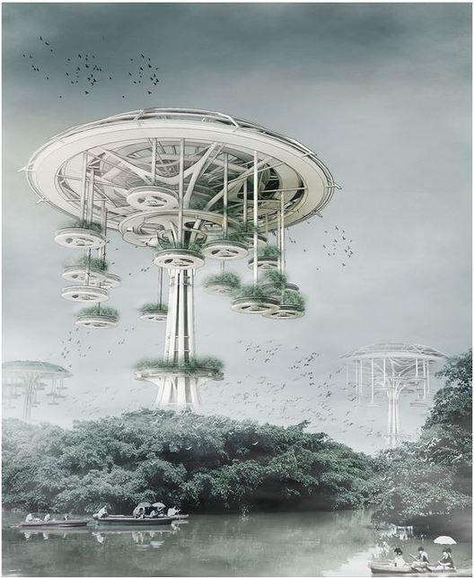 Floating Waterfront Village: Trees of Life / Yi Wang, Jin Wei. Image Courtesy of eVolo