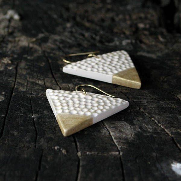 Ceramic Earrings - Gold / White Triangle