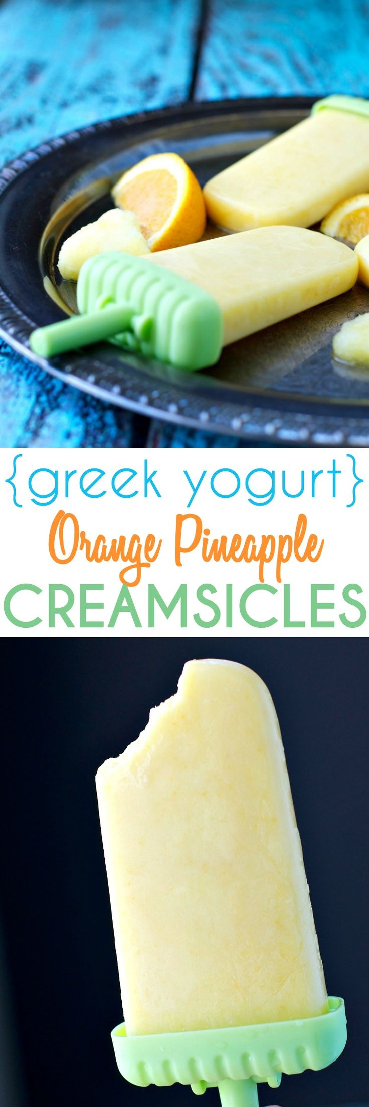 For about 40 calories you can enjoy these cool and creamy Greek Yogurt Orange Pineapple Creamsicles that are bursting with tropical citrus flavor! And with no added sugar, the homemade popsicles are healthy enough to eat for breakfast, snack or dessert!