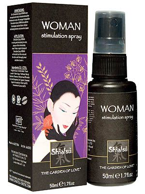 SHIATSU Woman Stimulation Spray 50ml for Sale  For a perfect dream of pleasurable sensation.  The Shiatsu Woman Stimulating Spray can excite and stimulate the intimate body areas to heights of erotic joy.