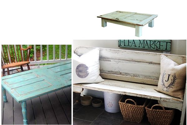 salvaged door ideas- cute for porches