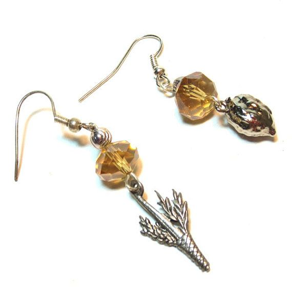 Buy Jewish Earrings Sukkot - Lulav and Etrog by lindab142. Explore more products on http://lindab142.etsy.com