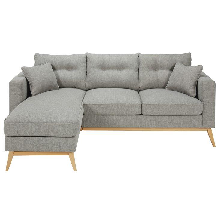 Mottled light grey 4/5-seater fabric modular corner sofa Brooke