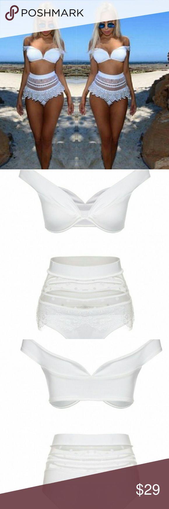 Off shoulder bikini Gorgeous white high waist bikini. This suit is adorable and sexy. Great for summer! Swim Bikinis