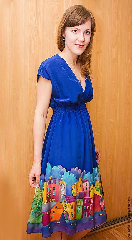 """Купить Батик платье """"Шёлковый город"""" - тёмно-синий, рисунок, Батик, батик платье"""